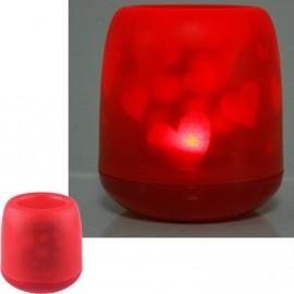 Электронная декоративная свеча c сердцами