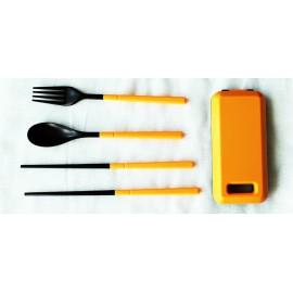 Дорожный набор вилка ложка палочки, оранжевый