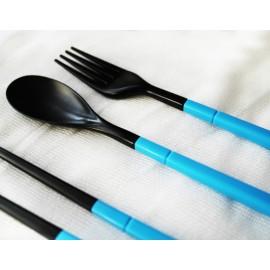 Дорожный набор вилка ложка палочки, голубой