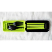 Дорожный набор вилка ложка палочки, салатовый