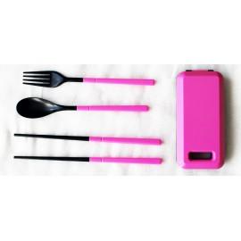Дорожный набор вилка ложка палочки, розовый