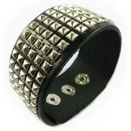Кожаный широкий премиум браслет Честер Беннингтон Chester Bennington черный