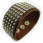 Кожаный широкий премиум браслет Честер Беннингтон Chester Bennington коричневый