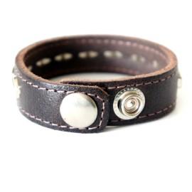 Кожаный браслет как у Хенка Муди коричневый