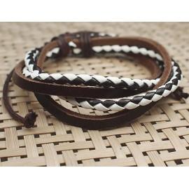 Кожаный плетеный браслет Классика