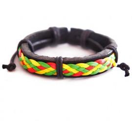 Кожаный растаманский плетеный браслет Ямайка