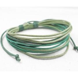 Веревочный кожаный браслет зеленый