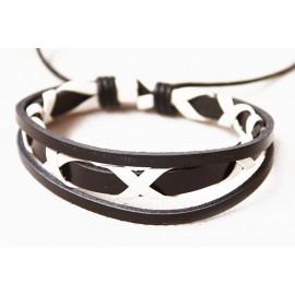 Кожаный плетеный браслет Токио черный с белым