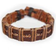 Кожаный плетеный браслет Магеллан коричневый