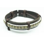 Кожаный плетеный браслет с узором Афродита