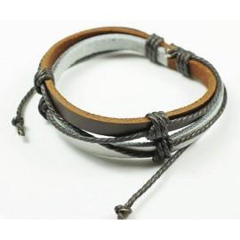 Кожаный плетеный браслет Старинный Город