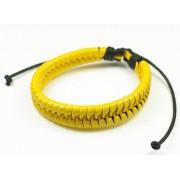 Кожаный браслет плетеный Солнце желтый