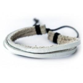 Кожаный браслет белый