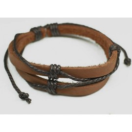 Кожаный плетеный браслет Старинный Город коричневый