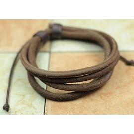 Кожаный браслет коричневый матовый