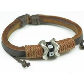 Кожаный браслет Волна