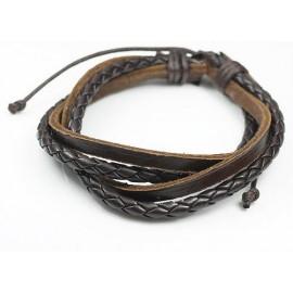 Кожаный плетеный браслет Лорд коричневый