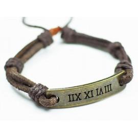 Кожаный плетеный браслет Столетие
