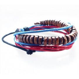 Веревочный кожаный браслет Чётки яркие