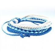 Веревочный кожаный браслет Маркиз голубой с белым
