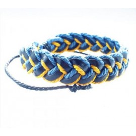 Кожаный плетеный браслет патриот Украины