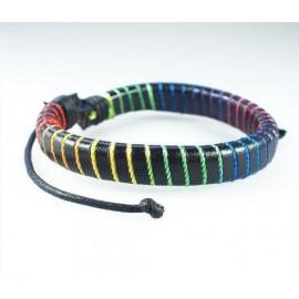 Кожаный плетеный браслет Радуга