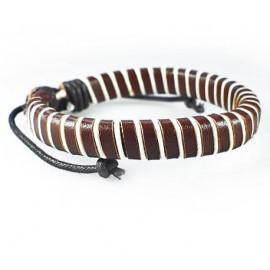 Кожаный плетеный браслет Зебра коричневый