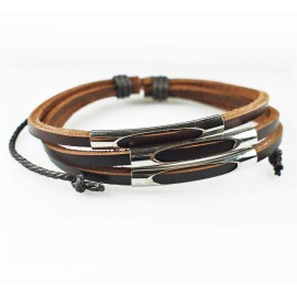 Кожаный браслет стильный Стиляга коричневый