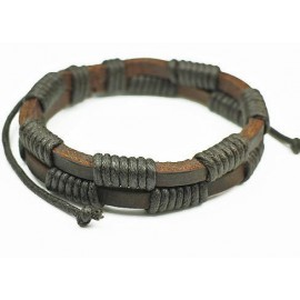 Кожаный плетеный браслет Корсар коричневый