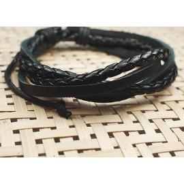 Кожаный плетеный браслет Ворон