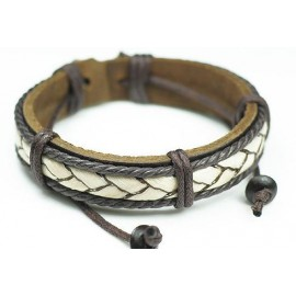Кожаный плетеный браслет Афина