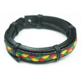 Кожаный растаманский плетеный браслет Джа