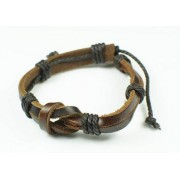 Кожаный браслет Морской Узел коричневый
