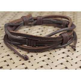 Кожаный браслет Винтаж коричневый