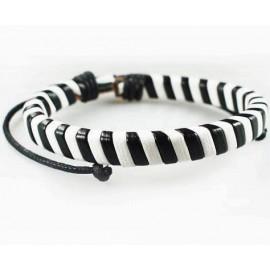 Кожаный плетеный браслет Зебра