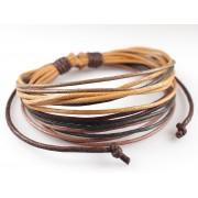 Веревочный кожаный браслет Мокка коричневый