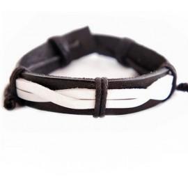 Кожаный плетеный браслет Контраст