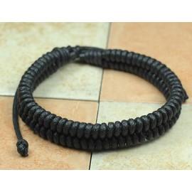 Кожаный плетеный браслет Идеал черный
