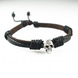 Кожаный браслет Пиратский Череп