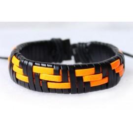Кожаный хипстерский браслет оранжевый