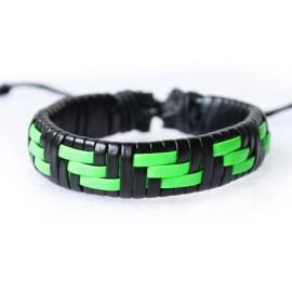 Кожаный хипстерский браслет зеленый