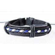 Кожаный плетеный браслет Пират черный с синим