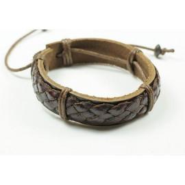 Кожаный плетеный браслет Греция коричневый