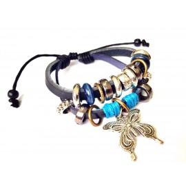 Оригинальный кожаный браслет Бабочка