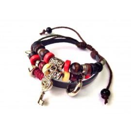 Оригинальный кожаный браслет Ключ