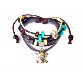 Оригинальный кожаный браслет Череп