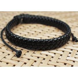 Кожаный плетеный браслет Минимал
