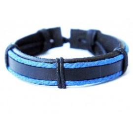 Кожаный плетеный браслет Сумерки черный с синим