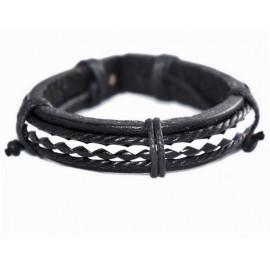 Кожаный плетеный браслет Пират черный с белым