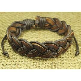 Кожаный оригинальный браслет Косичка коричневый